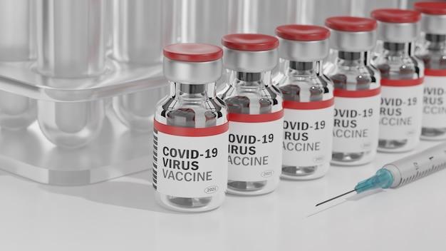 Rij van covid-19-virusvaccinflessen en een spuit met een naald op wit bureau.