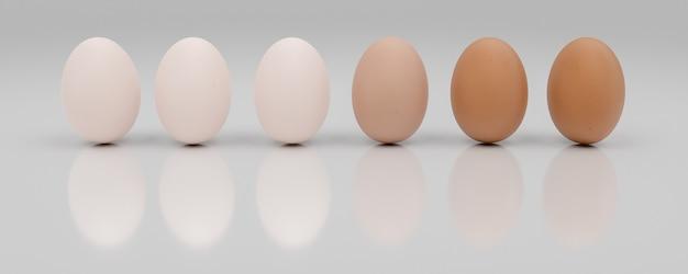 Rij van een dozijn eieren gesorteerd van licht naar donker. 3d-afbeelding
