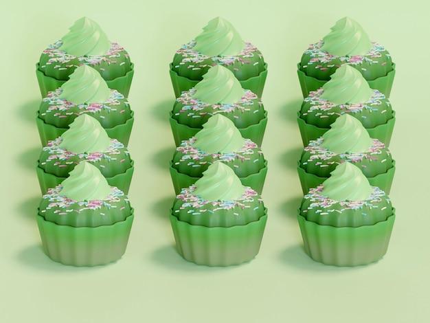 Rij van kleurrijke cupcakes geïsoleerd op background
