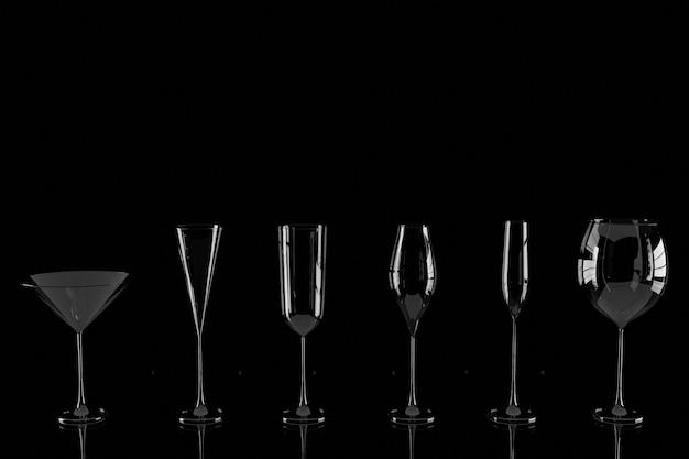Rij van lege wijnglazen op zwarte achtergrond