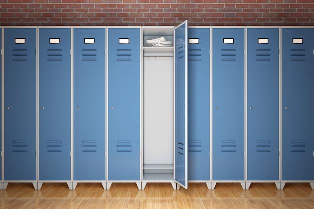 Rij van metal gym lockers voor bakstenen muur extreme close-up. 3d-rendering