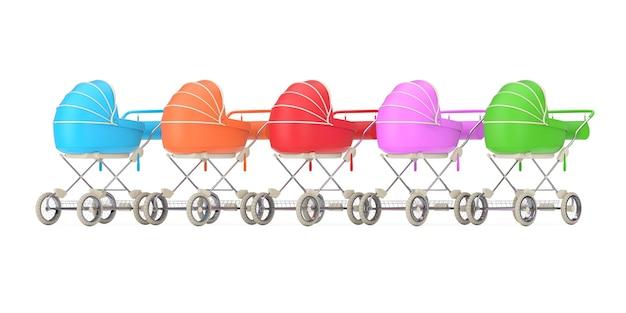 Rij van moderne veelkleurige kinderwagen, kinderwagen, kinderwagens op een witte achtergrond. 3d-rendering
