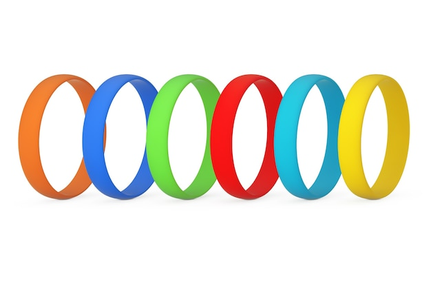 Rij van multicolor lege promo siliconen of rubberen armbanden op een witte achtergrond. 3d-rendering