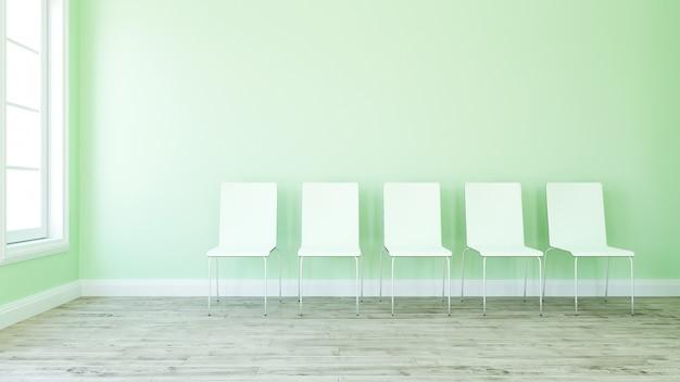 Rij van stoelen in lege ruimte