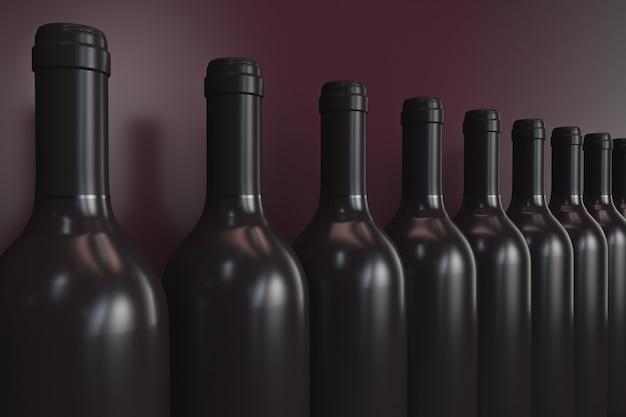 Rij van wijnflessen