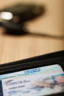 Rijbewijs in close-up van portemonnee
