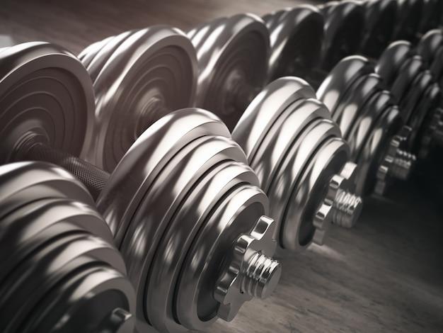 Rijen dumbbells in de sportschool. 3d illustratie