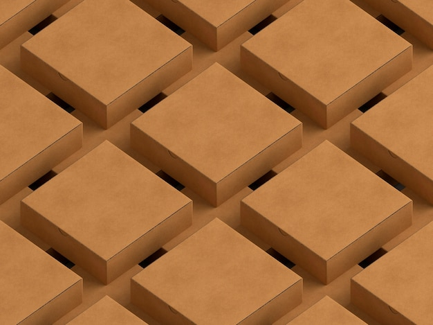 Rijen en kolommen met kartonnen dozen