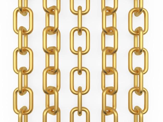 Rijen met gouden kettingen