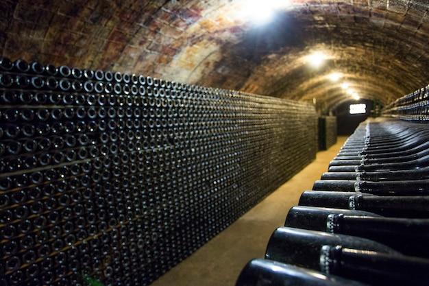 Rijen met wijnflessen in de kelder