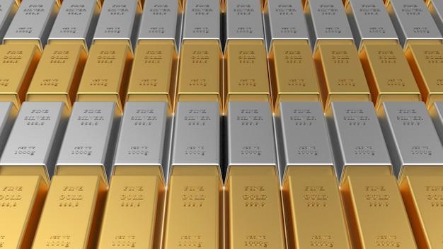 Rijen van goud- en zilverstaven