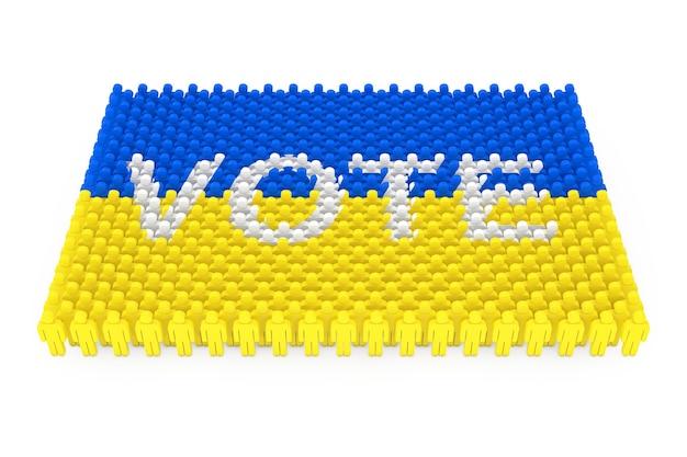 Rijen van mensen pictogram als oekraïne vlag en stem teken op een witte achtergrond. 3d-rendering