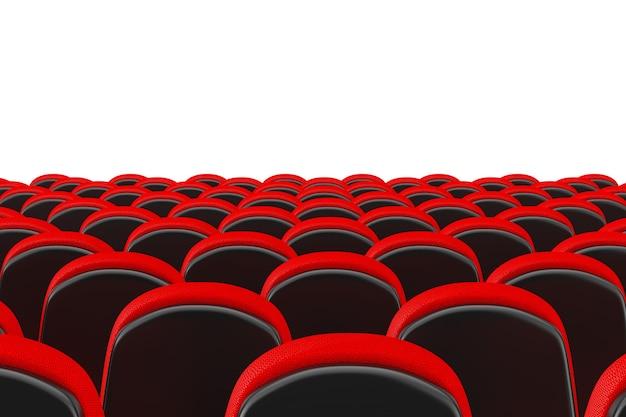 Rijen van red cinema bioscoop comfortabele stoelen op een witte achtergrond. 3d-rendering