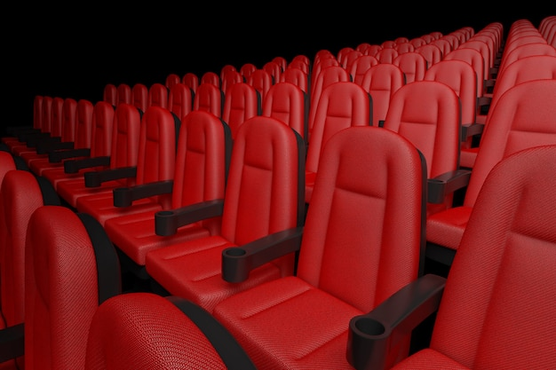 Rijen van red cinema bioscoop comfortabele stoelen op een zwarte achtergrond. 3d-rendering
