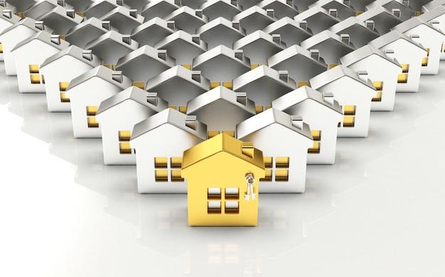 Rijen zilveren huizen met één gouden huis