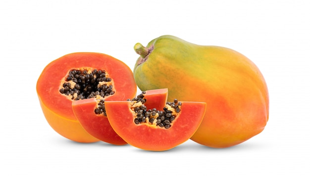 Rijp papaya fruit met zaden