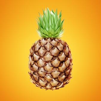 Rijpe ananas op geel.
