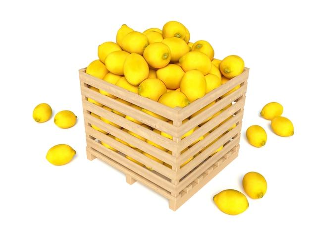Rijpe citroen in houten doos die op wit wordt geïsoleerd