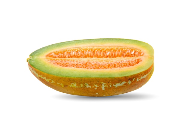 Rijpe cucumis, rijpe meloen op witte achtergrond