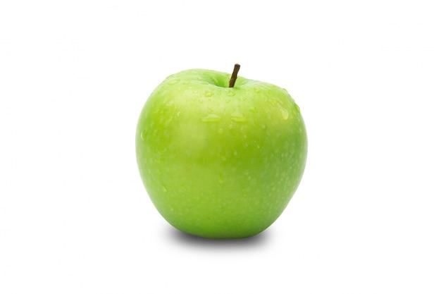 Rijpe gehele groene appelen die op witte achtergrond met het knippen van weg worden geïsoleerd