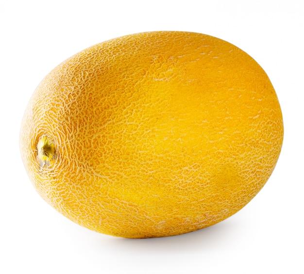 Rijpe gele meloen die op wit wordt geïsoleerd
