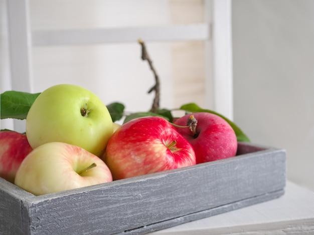 Rijpe, geurige rood-groene appels in een houten grijze doos op een witte stoel