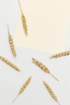 Rijpe gouden tarwe oren close-up achtergrond met rijpende oren van graanplant concept van herfst oogsttijd