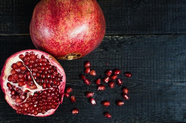 Rijpe granaatappel, granaatappelpitten