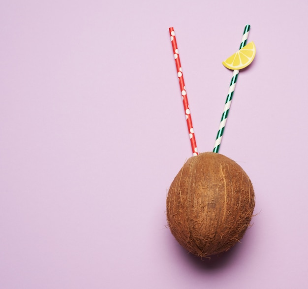 Rijpe hele ronde kokosnoot op een paarse achtergrond, bovenaanzicht