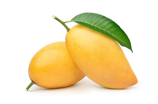 Rijpe mango met groen blad dat op wit wordt geïsoleerd