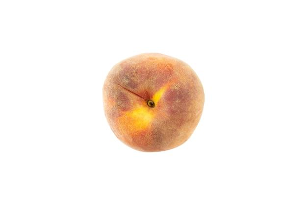 Rijpe perzik weergave van bovenaf geïsoleerd op een witte achtergrond