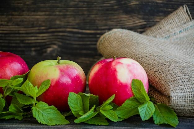 Rijpe rode appels met munt.