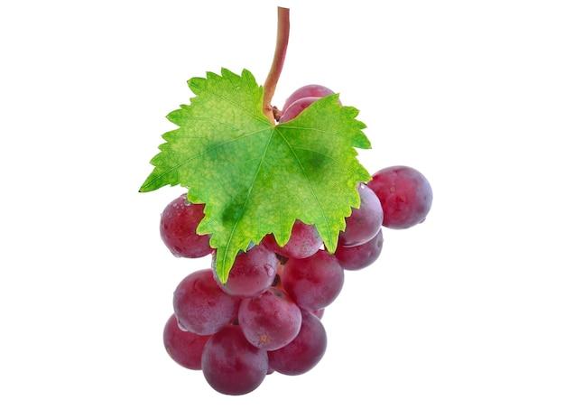 Rijpe rode druif met bladeren geïsoleerd op white