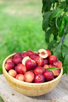 Rijpe sappige nectarines in een houten kom op een oude houten tafel in een nectarinetuin