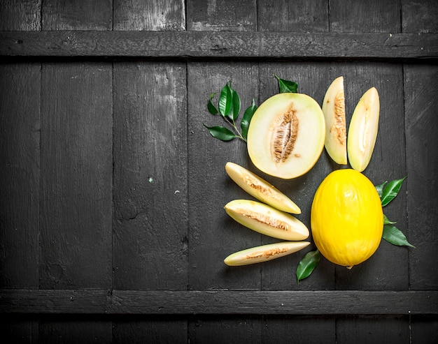 Rijpe stukjes meloen