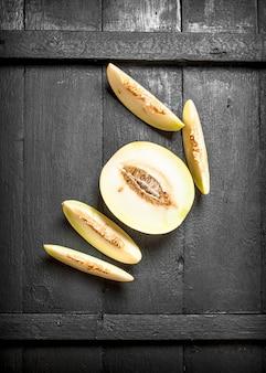 Rijpe stukjes meloen.