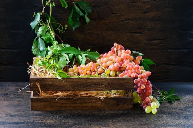 Rijpe tros rode en groene druiven en witte wijn in een karaf op oude houten planken