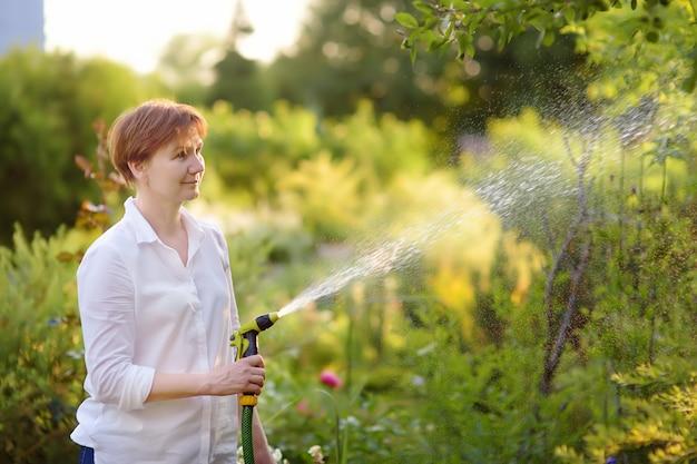 Rijpe vrouw die het gazon met een tuinslang water geven in een zonnige tuin.