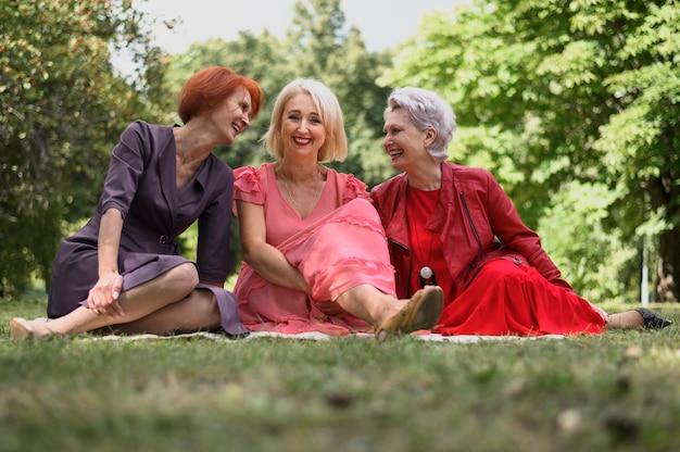 Rijpe vrouwen die een goede tijd in het park hebben