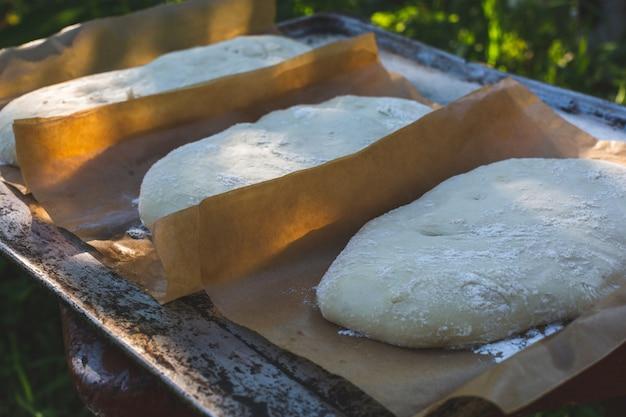 Rijsdeeg voor ciabatta. natuurlijk brood zuurdeeg