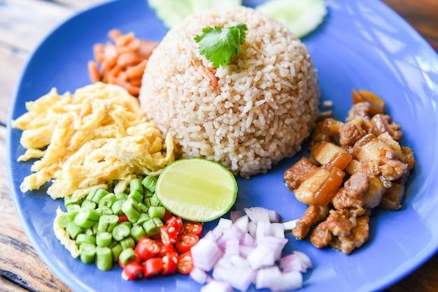 Rijst gekruid met garnalen