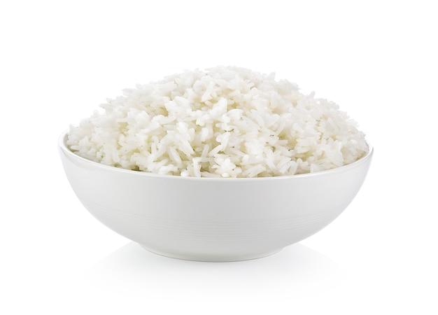 Rijst in witte kop op wit