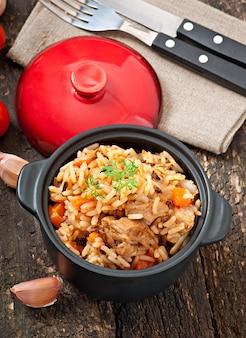 Rijstpap met vlees en kruiden