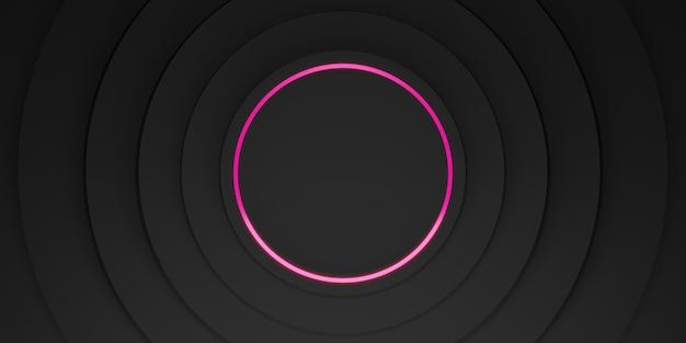 Ring achtergrond zwart display stand laser ring en neon licht gloed 3d illustratie