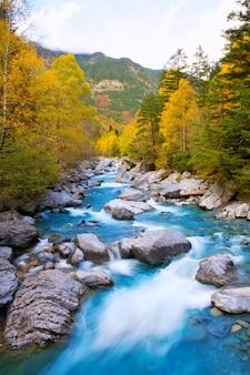 Rio ara rivier bujaruelo in valle de ordesa vallei pyreneeën huesca