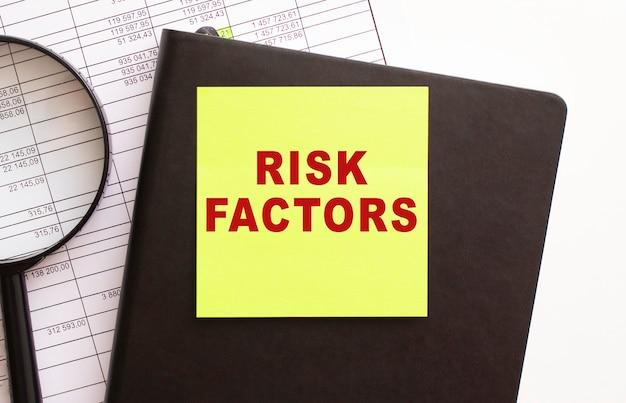 Risicofactoren tekst op een sticker