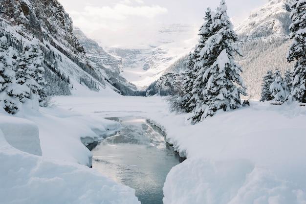 Rivier in besneeuwde bergen