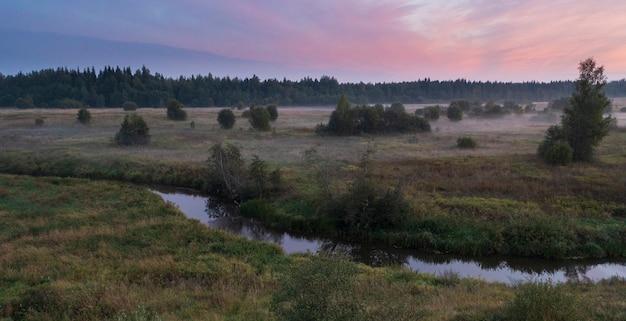 Rivier in het herfstveld in de buurt van het bos bij zonsondergang. lemovzha, volosovsky district, leningrad regio, rusland
