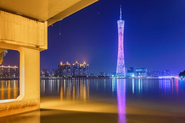 Rivier met moderne de architectuurachtergronden van het stadsoriëntatiepunt van roze wolken in guangzhou china
