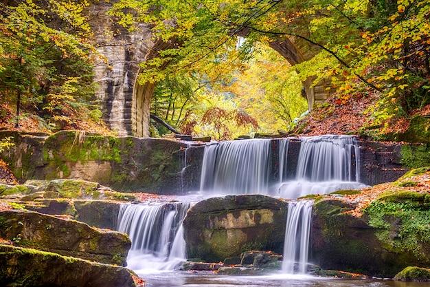 Rivier waterval in het bos en boog van een stenen brug